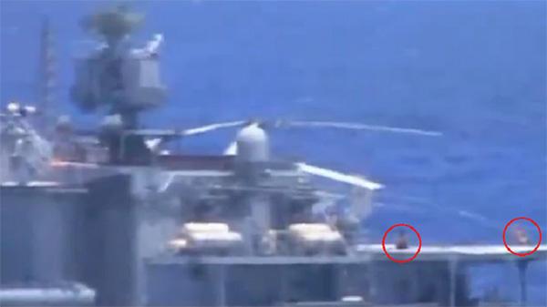 美軍公布美俄軍艦東海險些相撞視頻,驚現俄水兵甲板曬太陽 【澎湃新聞】