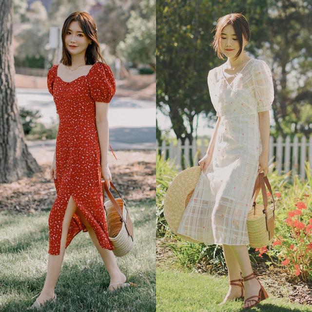 连衣裙+凉鞋,演绎灵动优雅的女人魅力,夏天这样穿漂亮、时髦